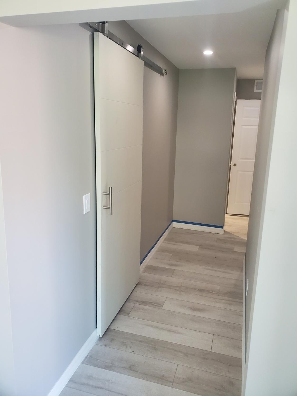 New hallway & closet Barn door